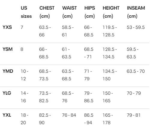Tabela velikosti Under Armour - fantovska oblačila