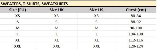 Veľkostná tabuľka Celio - mikiny, tričká, svetre