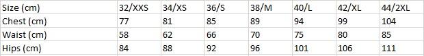 Tabela velikosti Desigual - ženske