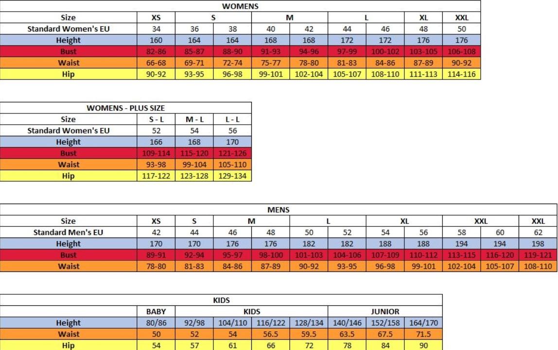 Tabela velikosti Alpine Pro - oblačila