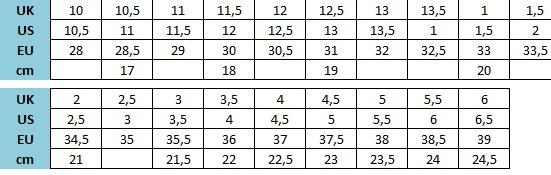 Tabela velikosti New Balance - otroški čevlji