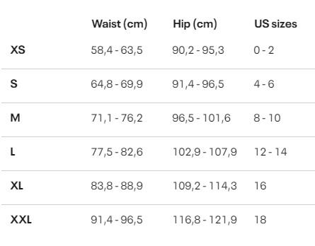 Tabela velikosti Under Armour - ženske hlače