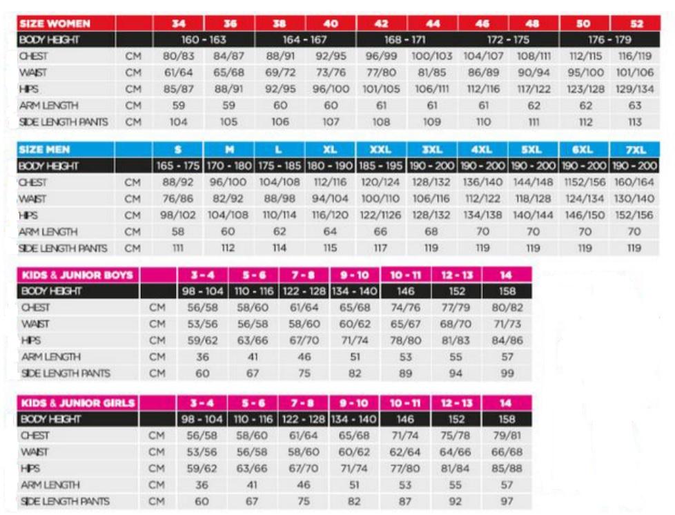 Tabela velikosti Kilpi - oblačila