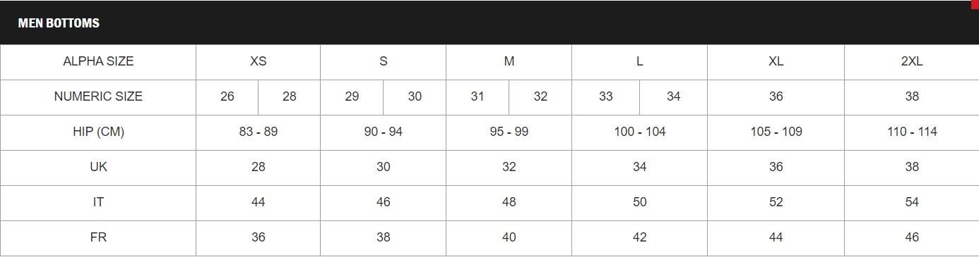 Tabela velikosti Vans - moške hlače